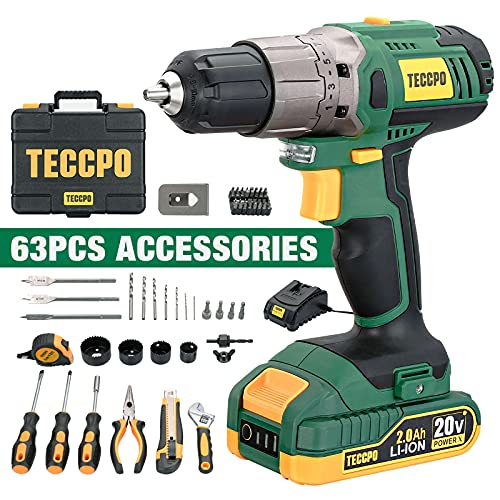 TECCPO Cordless Drill, 20V 2.0Ah Battery, 63Pcs Drill Set Combo Kit, 310 In-lbs Torque, 2-Speed, 21+1 Position Torque, with Fast Charger, Tool Case,...