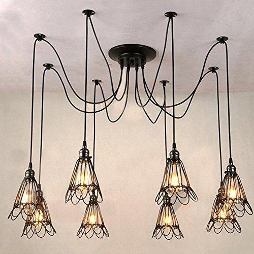 Modeen Vintage Rétro 8-Lumières E27 Plafond Lampe Suspendue Éclairage Edison Multiple Réglable DIY Plafond Araignée Lampe Lumière En Métal Fil Cage Pendentif Éclairage Lustre Moderne Industrielle