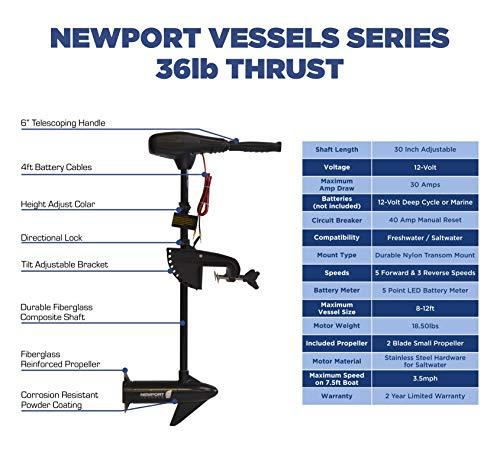 Newport Vessels NV-Series 36lb Thrust Saltwater Transom Mounted Trolling Electric Trolling Motor w/LED Battery Indicator & 30 Shaft