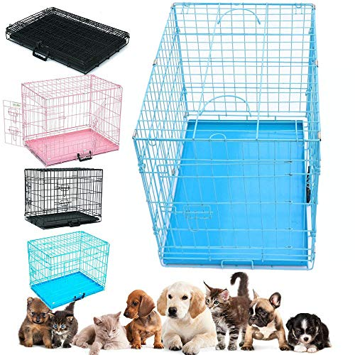 Lucg Dog Cage Pet Puppy Folding 2-Doors Non-Chew Metal Crate Cat Dog Crate...