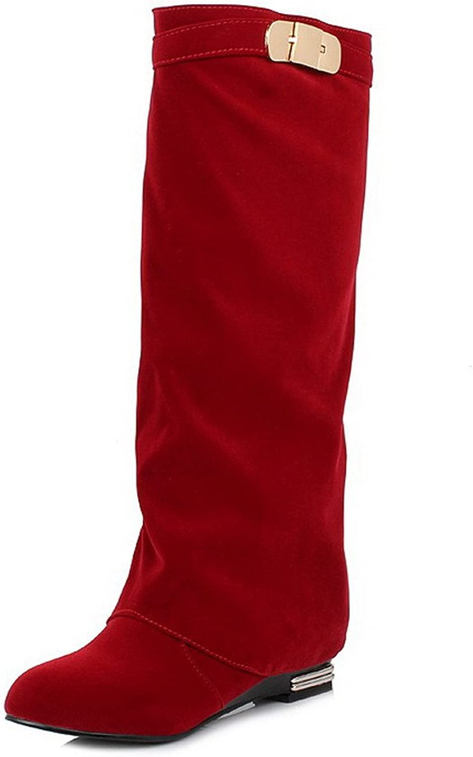 WeenFashion Women's Pull-on Low-Heels Flock Solid High-top Boots