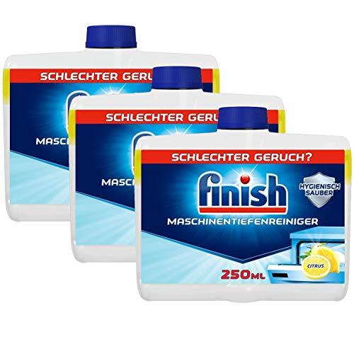 Finish Maschinentiefenreiniger Citrus – Flüssiger Maschinenreiniger gegen Kalk und Fett für eine saubere Spülmaschine – 3er Pack (3 x 250ml)