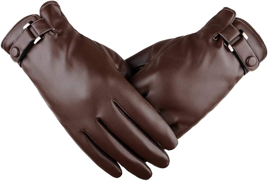 BullkerDirect Men Winter Solid Color Faux Leather Gloves Touch Screen Plush Lined Mittens Full Finger Warm Coffee