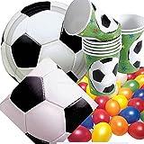 Riethmüller/Dekospass 33 unidades Set de fiestas* diseño de fútbol * platos de Papel + servilletas + vasos + XXL-confetis para Fiesta, para el mundial de fútbol