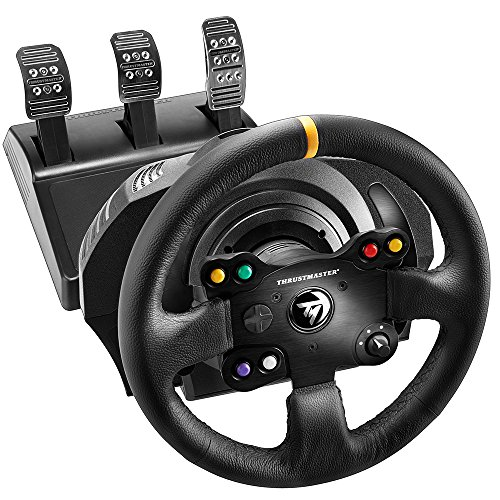Thrustmaster TX Racing Wheel Leather Edition, Volante y Pedales, Force Feedback, Motor Brushless, Sistema de Correa Doble, Tecnología Magnética, Volante Intercambiable