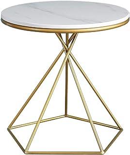 ZQH Home Round Modern Nightstand Bianco Effetto Marmo Top Tavolino con Telaio in Acciaio Verniciato Oro per Soggiorno Camera da Letto E Ufficio,A1