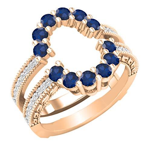 Dazzlingrock Collection Anillo de boda curvo de doble guardia a juego con zafiro azul redondo y diamantes blancos | oro rosa de 18 quilates, talla 6