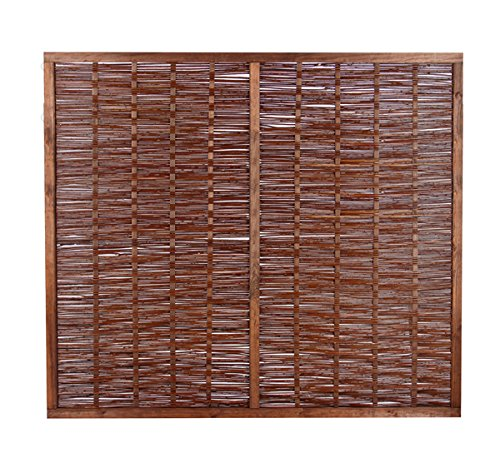 Papillon Premium Framed Woven Willow Wicker Wattle Hurdle Fence Panels Garden Screening Wooden Fencing 1.8m x 0.9m (6ft x 3ft) With 1 Year Warranty
