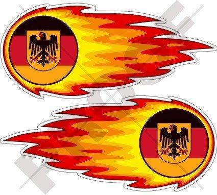 DEUTSCHLAND Deutsch Flammender Feuerball, Feuer 125mm Auto & Motorrad Aufkleber, x2 Vinyl Stickers