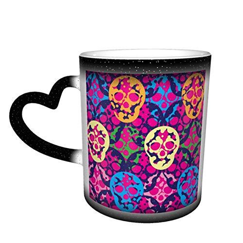 Taza de café con diseño de calaveras coloridas que cambia de color en el cielo, taza de cerámica sensible al calor
