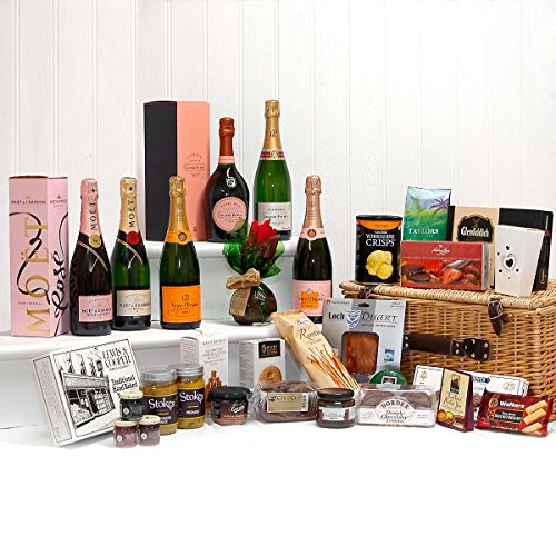 Deluxe Champagne and Gourmet Food Hamper in a Luxury Wicker Basket - Including Moet et Chandon, Laurent-Perrier and Veuve Clicquot - Ideas for Mum, Mothers Day, Valentines, Birthday, Anniversary, Wedding, Business gifts, Corporate, Dad, Fathers Day, Congr