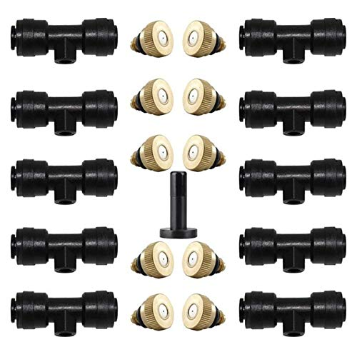 HCHD Water Misting Cooling System Kit Brass Sprinkler Nozzle For Greenhouse Garden Patio Waterring Irrigation Mister Line 6M-18M ( Color : 10PCS )