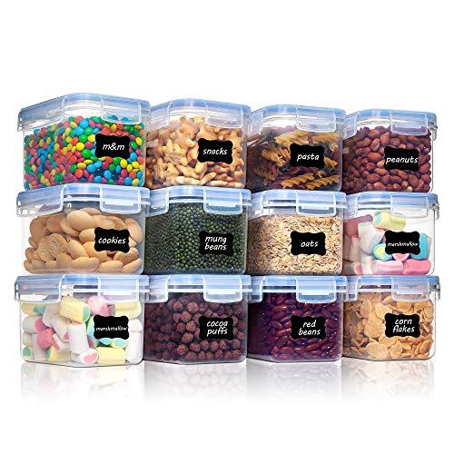 Vtopmart 0.8L boîtes de Conservation Alimentaire sans BPA de Nourriture en Plastique avec Couvercle,Ensemble De 12+24 Étiquettes,pour Céréales,Farine (Bleu)