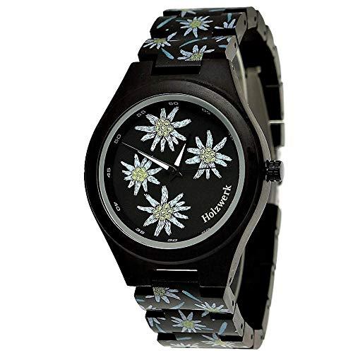 Handgefertigte Holzwerk Germany® Designer Damen-Uhr Öko Natur Holz-Uhr Armband-Uhr Analog Klassisch Quarz-Uhr mit Sonnenblumen Blumen Blümchen Motiv Schwarz Braun Limitiert