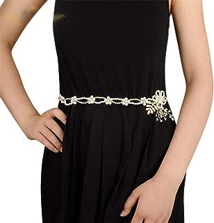 LUKEEXIN Bridal Belt Rhinestone Pearl Decorative Belt Wedding Dress Accessories (Color : White- Organza)