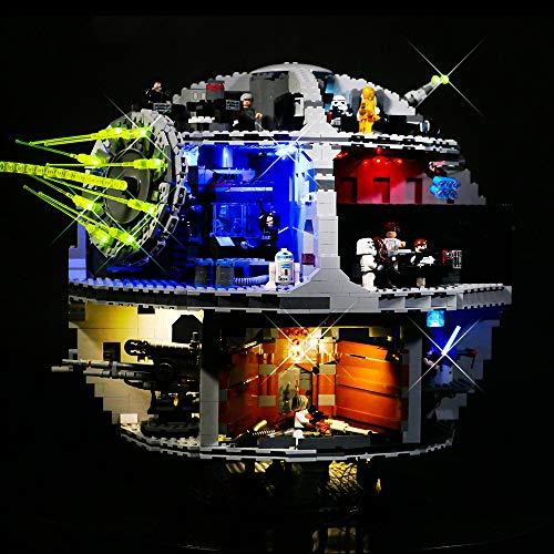 Kit De Iluminación De La Estrella De La Muerte 3 Equipo De Iluminación para El Modelo De Bloques De Construcción, Compatible con Las Luces Led De Lego 75159 (no Incluye Los Bloques De Construcción)