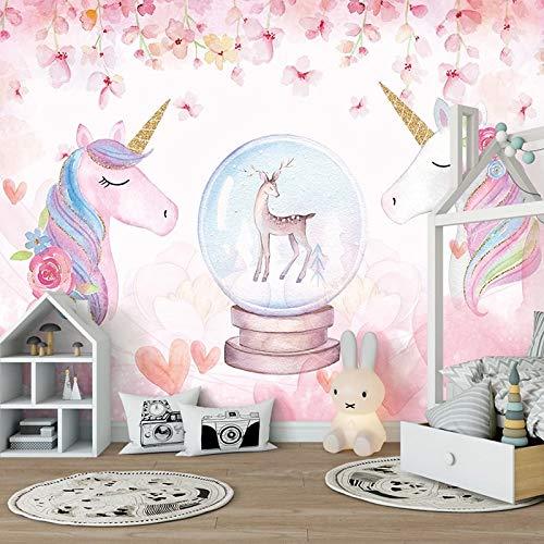 Mural personalizado 3D rosa pintado a mano flor ciervo caballo arte pintura de pared dormitorio niños habitación Fondo foto papel tapiz habitación de niños