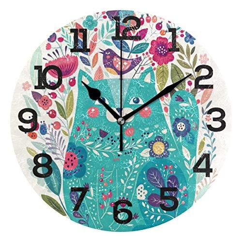 AMONKA - Reloj de pared redondo con diseño de gatito rodeado de pájaros, flores, mariquitas, no hace ruido en los relojes de acrílico silencioso para decoración del hogar, sala de estar, dormitorio, cocina, escuela, oficina
