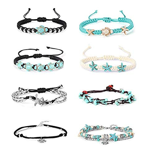 Finrezio 8 Stücke Fußkettchen Einstellbare Turtle Starfish Beach Fußkettchen Armbänder Fuß für Frauen Mädchen Boho