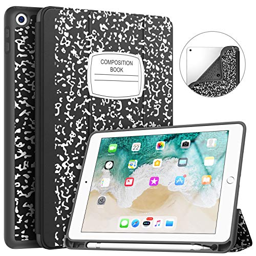 Soke iPad 9.7 2018/2017 Case with Pencil Holder, Trifold Stand with Shockproof Soft TPU Back Cover and Auto Sleep/Wake Function for iPad 9.7 inch 5th/6th Generation,Book Black