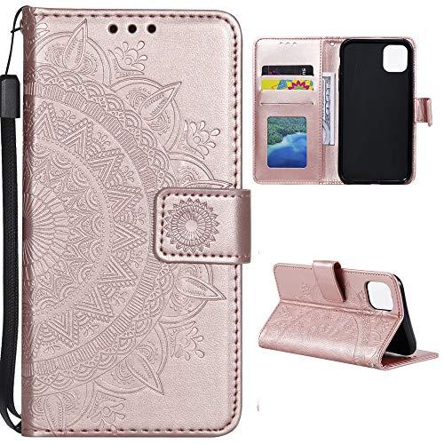 CoverKingz Funda para Xiaomi Mi 11 Lite 5G – Funda con compartimento para tarjetas Mi 11 Lite 5G Cover – Funda para teléfono móvil plegable diseño mandala oro rosa