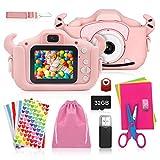 ShengRuHai Macchina Fotocamera Digitale per Bambini, Macchina Fotocamera Bambini Portatile Selfie con Scheda di Memoria Micro SD da 32 GB, Bambini Camera Regalo di Compleanno con a Doppia Lente