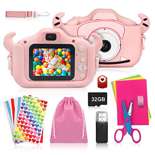 ShengRuHai Kinderkamera, Digitalkamera Kinder mit USB Ladefunktion, Ausgestattet mit 32 GB Speicherkarte, 1200 MP 1080p HD Bildschirm, Eignet Sich sehr gut als Geschenk für Kinder auf Weihnachts