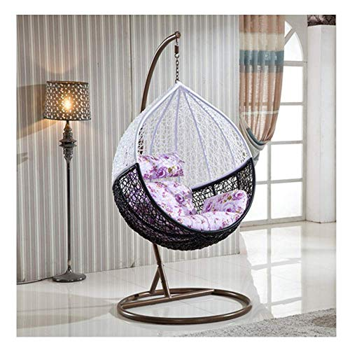 Rattan Hangende Swing Chair, Weave Egg Patio Tuin Stoel met Kussen, 200kg Capacity Outdoor Garden urniture, oranje zhihao (Color : Black+white)