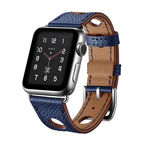 123Watches.nl - Apple watch leren hermes band - donkerblauw - 42mm en 44mm
