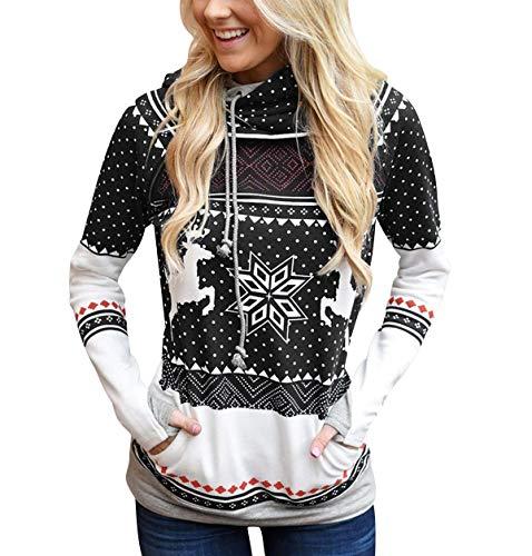 Sudadera Navidad con Capucha Mujer Sudaderas Navideñas Estampadas Jersey Navideño Sueter Reno Sweaters Pullover Hoodies Largas Chica Oversize Anchas Deporte Larga Invierno Personalizadas
