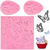 3 Pieces Hollow Butterfly Shape Silicone Molds Fondant Cake Molds Chocolate Candy Mold Biscuit...
