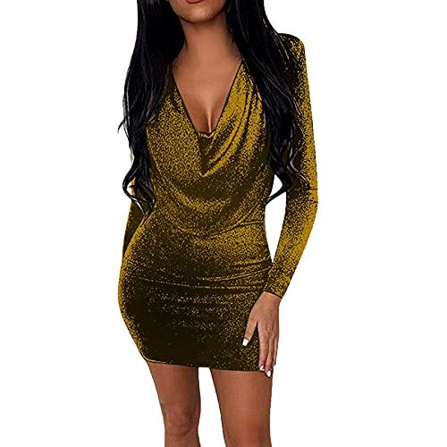 KeYIlowys Damen Pailletten Eng Anliegendes Kleid, Schlanker LangäRmeliger HüFtrock, Weibliches Sexy Kleid Mini Einfarbig UnregelmäßIger V-Ausschnitt