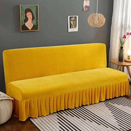 JHLD Stretch Sofa Bed Cover Armless Futon Cover Soft Velvet Sofa Slipcover Non Slip Washable Furniture Protector for Kids Pets Cats Dogs-Yellow-L 180-220cm(71-86in)