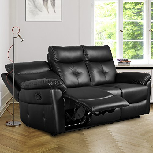 Leisure Zone Black PU Leather 3 Seater Sofa Recliner, Loveseat Lounge Couches Set with Armchair Recliner for Living Room, Office, Study Room or Other Room