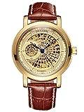 Alienwork Reloj Automático Hombre Mujer Oro Pulsera de Cuero marrón Esqueleto