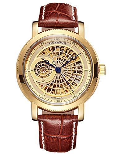 Alienwork Herren Damen mechanische Automatik-Uhr Gold mit Lederarmband braun Skelett