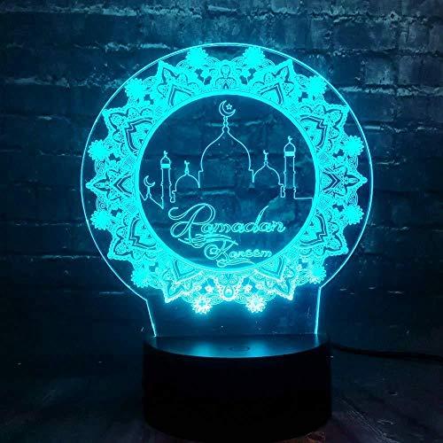 Luces nocturnas Ilusión 3D de luz nocturna lámpara para sala de estar Ramadán Mubarak para sala de estar, cama, bar, regalo juguetes para niños y niñas Con interfaz USB, cambio de color colorido