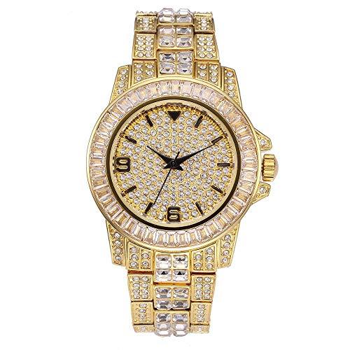 KMASAL - Reloj de pulsera de acero inoxidable con micro pavimentación con diamantes de circonita cúbica de lujo, esfera grande de cuarzo para hombres y mujeres (todo oro)