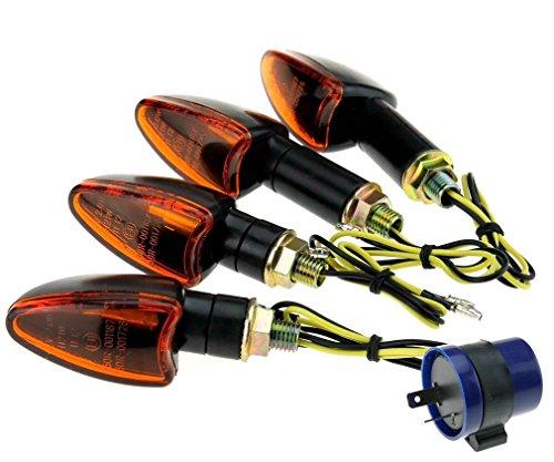 Black with Amber lens Indicators for Motorbikes Quads ATVs /& Trikes 21W Bulb