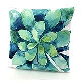 heimtexland ® Outdoorkissen Tropical Dekokissen Lotus Effekt Schmutz- und Wasserabweisend Garten Outdoor Kissen 45x45 Typ688 (Aquarell)