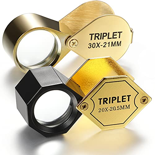2 Pieces 30X 21 mm 20X 20.5 mm Glass Jeweler Loupe Loop Eye Magnifier Metal Body Jewelers Eye Magnifying Glass Magnifier for Identifying Jewelry Gems Coins Stamps, Golden, 2 Designs
