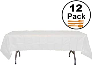Exquisite 12-Pack Premium Plastic Tablecloth 54 Inch. x 108 Inch. Rectangle Table Cover-White