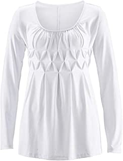 201 New Women's Wear Pure-colour Chest Pleated Sleeve T-shirt Top with Round Neck and Long Sleeve
