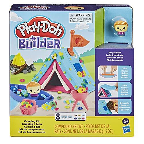 PlayDoh F0642 Builder CampingKit Bauset für Kinder ab 5 Jahren mit 8 PlayDoh Farben – Einfaches Bauset zum Selbermachen