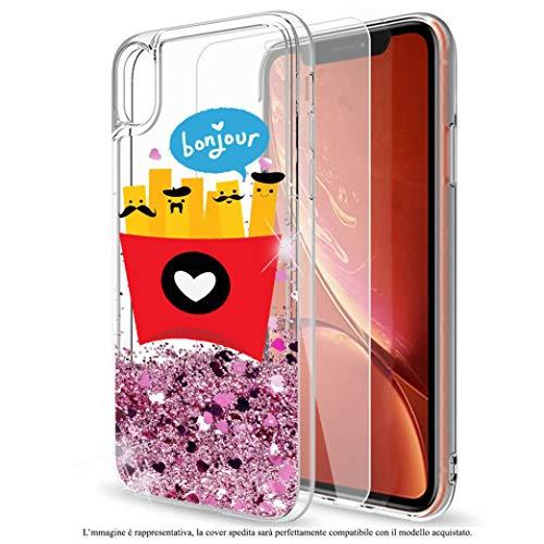 Mixroom - Custodia Cover Case per iPhone 6 Plus con Brillantini Glitter in Gel Liquidi Quicksand Rosa Fantasia Patatine con I Baffi Codice 404