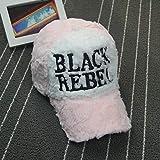 Gorra de béisbol de Felpa Black Rebel de Moda Coreana Gorras de otoño e Invierno para Hombres y Mujeres