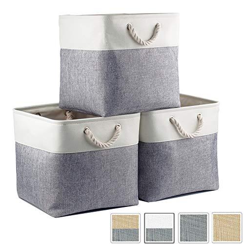 Mangata Aufbewahrungsbox Stoff, aufbewahrungskorb Grau Weiss, Korbe Stoff in Würfel (33x33x33 cm) für Schrank, Regal, und Kleidung, (Faltbare, 3er Pack)