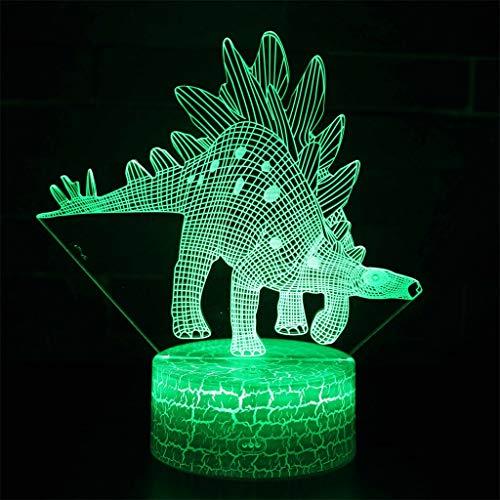 Lumière de nuit de petit dinosaure illusion 3D / LED, lumière de sculpture art tactile et câble USB chambre bureau bureau décoration lumière