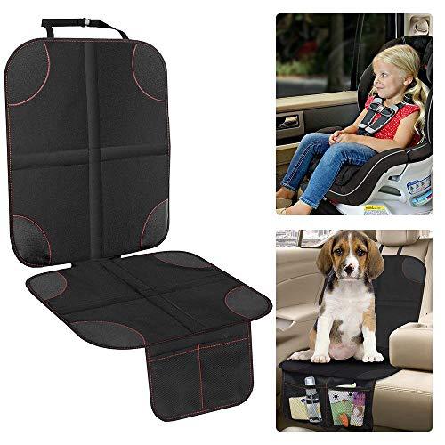 phiraggit Protector de asiento de automóvil, protector de asiento de automóvil para niños/perros antideslizante con bolsa de almacenamiento, fácil de limpiar (negro, 1 paquete)