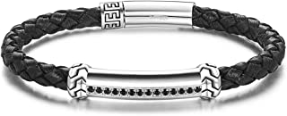 Carleen Freedom 925 Sterling Silver Genuine Mens Leather Bracelet Black Spinel Braided Rope Energy Charm Push Button Locking Clasp, 7.5